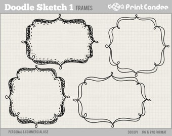 Doodle Sketch Frames 1 - Personal and Commercial Use - digital clipart frames clip art
