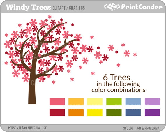 Windy Trees -  Digital Clip Art - Personal and Commercial Use - graphics, scrapbooking, card making, design elements