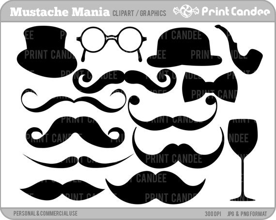 Mustache Mania -  Digital Clip Art - Personal and Commercial Use