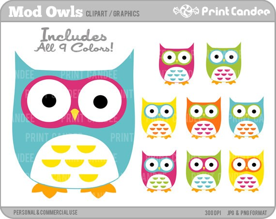 Cute Owls (Mod) - Digital Clip Art - Personal and Commercial Use - whimsical owls mod retro cute colorful