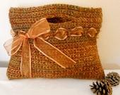 Crochet Tote Bag - purse handbag bag tote crochet Fall Autumn clutch chunky brown ribbon - El Paso Autumn Chunky Handbag