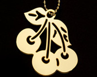 Gold Plated Cherry ornament, Key Chain, or  pendant  with your heavy chain.