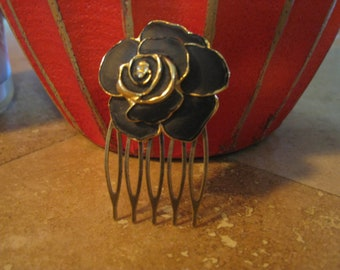 Vintage Black Upcycled Rose hair comb