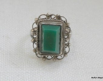Mexico Sterling Silver Green Onyx Ring Filigree