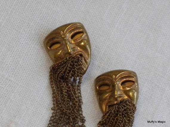 Brass Face Earrings with Dangling Chains