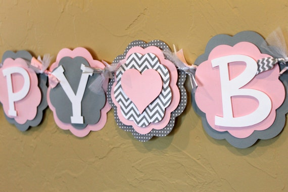 heart light baby pink gray chevron stripe polka dot happy birthday