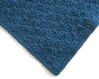 Windsor blue, crochet baby blanket
