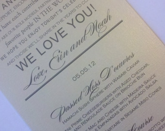 Wedding Menu Card - Thank You Design - your choice of colors - Pearl Shimmer Cardstock - 1.00 each