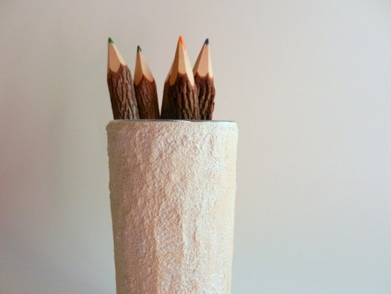 Rustic pencil holder / back to school / office decor / beige