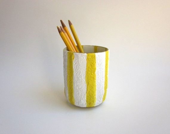 Pencil holder / Yellow and White pen cup / Desk Art / yellow office decor