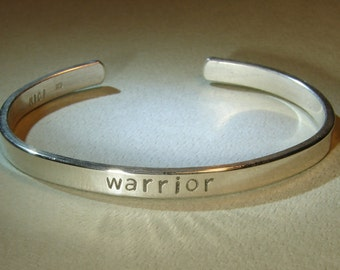 Sterling silver warrior cuff bracelet for a cancer survivor