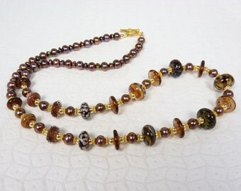 Coffee, Caramel, Chocolate, and Cream Boro Lampwork Art Glass Necklace with Shiny Lustrous Coppery Brown Freshwater Pearls and Gold