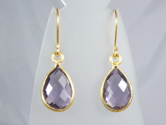 Amethyst Quartz Faceted Teardrop Earrings with Gold Bezel Set Gems on Gold Vermeil Ear Wires