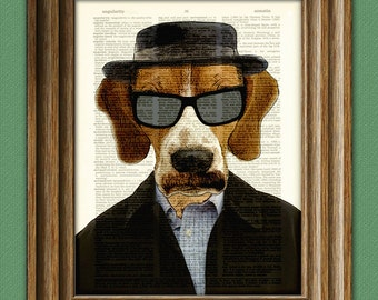 Heisenbeagle Beagle with hat mustache and hat illustration beautifully upcycled dictionary page book art print