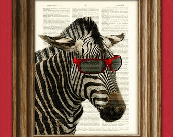 Zebra Art Print Zeke the Cool Kid illustration beautifully upcycled dictionary page book art print