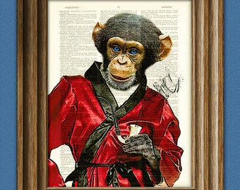 The Dashing Chimp Daddy Chimpanzee in Smoking Jacket with pipe illustration beautifully upcycled dictionary page book art print