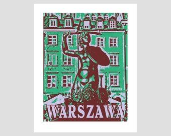 warsaw warszawa poland polska mermaid fighter defender red purple green retro photo-graphic art print