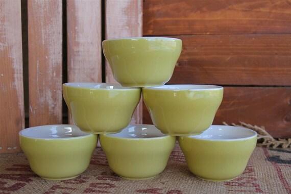 Vintage Mid Century Homer Laughlin Ceramic Custard Cups - Set of 6