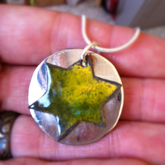 Enameled Star of David from Israel - Green, Lime, Yellow with Alpaca