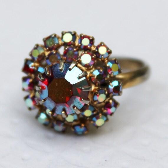Vintage Red Glass Rhinestone Ring