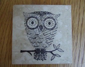 Owl Owls Coasters Travertine Tile - Set of 4 - Perfect for Home Decor, Gift or Keep a Set for Yourself