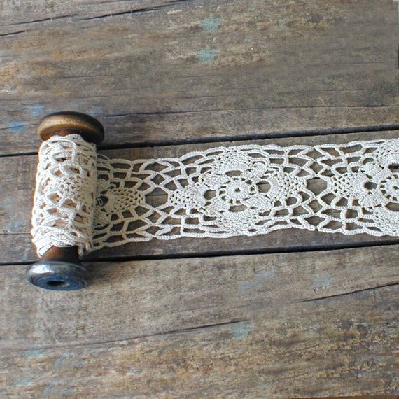 Vintage Salvaged Crochet Pillow Case Trim from the Sewing Room