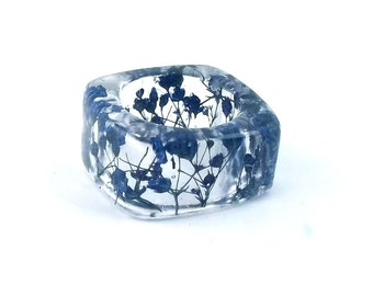 Blue Resin Ring. Botanical Pressed Flower Resin Jewelry.  Square Band Ring. Handmade Resin Jewelry with Real Flowers - Baby's Breath