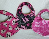Pink and Black Hearts and Skulls Baby Bibs - set of 3 bibs