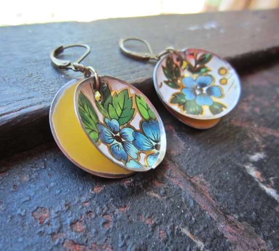vintage tin earring, upcycled jewelry,  blue and yellow flower earring - featured at our local Farmers Market