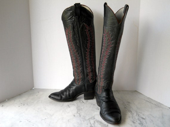 Larry Mahan Tall Cowgirl Boots // Plum Flame Stitch Black Leather (6 US)