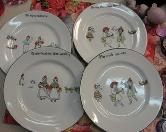 Dutch Porcelain Plates Set of 4 Different with Sayings Hand Painted