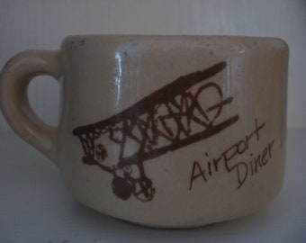 Diner Mug Airplane Vintage Airport Diner Mug Bi Plane Graphics Gently Used c. 1950 Era Coffee Cup Vitrified China
