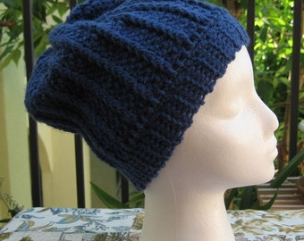 50% off blue ribbed hat