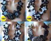 Handmade Rolled Fabric Flower Rose Statement Necklace Bib