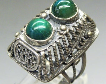 Beautiful CHRYSOCOLLA Sterling Silver Vintage Ring