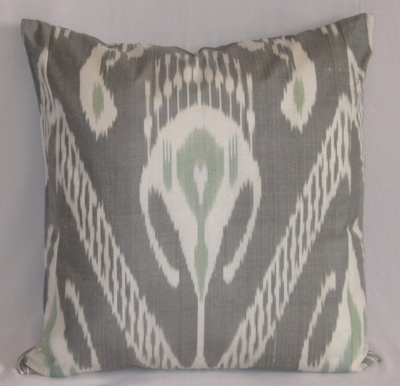 18 x 18 Silk cotton Uzbek Ikat Pillow case - BOTH SIDE IKAT