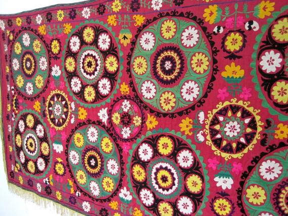 Uzbek fully handmade silk embroidery Vintage large Suzani