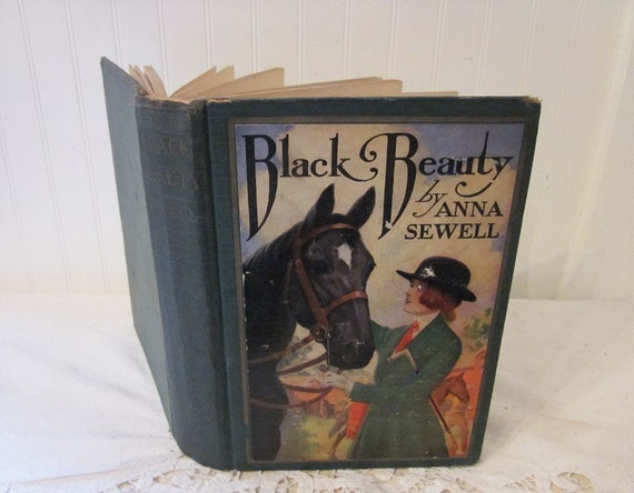 vintage Black Beauty book, 1927 edition, Edwin John Prittie illustrations, Hardcover Anna Sewell classic