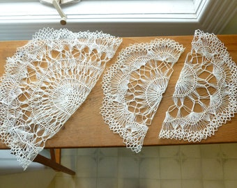 Vintage White Handmade Crocheted Doily Set 1960s 1970s