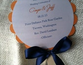 5.5 Inch Wedding Program Fan Round with Three Layers Custom to Your Colors