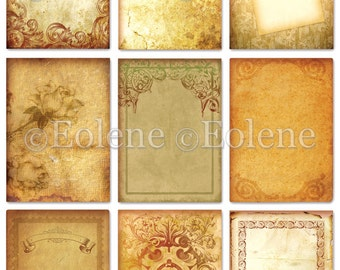 Old Papers 9 Backgrounds Digital Collage Sheet A4 Download and Print