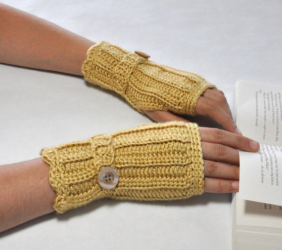 Fingerless Glove Wrist Warmer Gauntlet Honey Gold