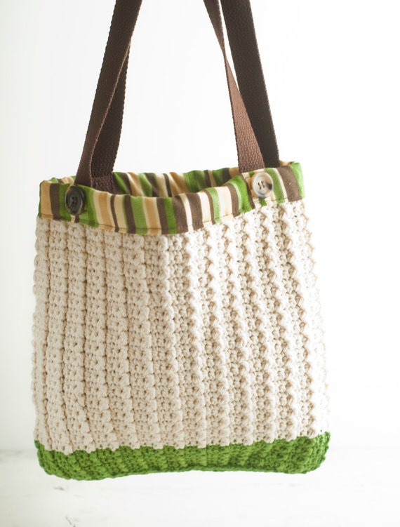 Crochet Shopping Bag : ... to Reusable Shopping Bag, Crochet Market Bag, striped lining on Etsy