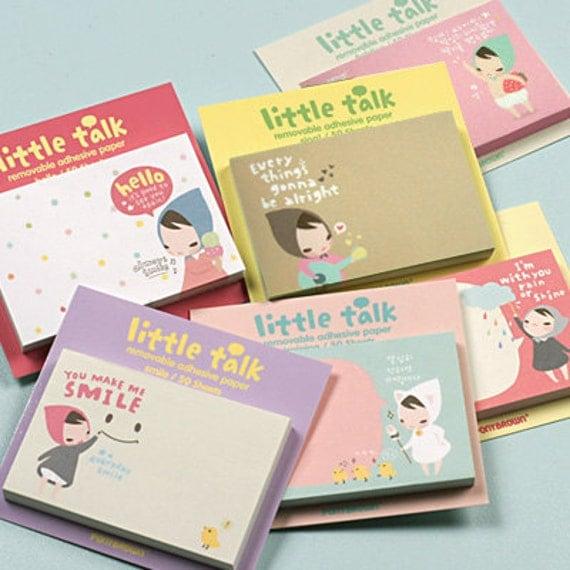 Very cute Korean Kawaii Pony Brown post-it / notepad: Little Talk, fighting cheer up