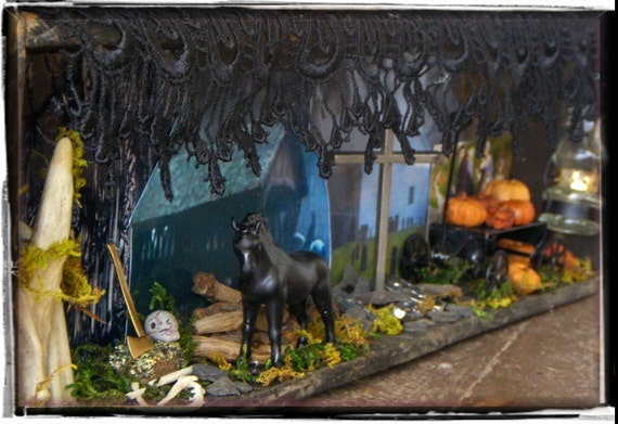 Reserved - Diane Payment # 1 SLEEPY HOLLOW. Ghost Legend Curio Diorama. Headless Horseman, Ichabod Crane, Covered Bridge, Church Graveyard,