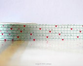 Love Grid Red Hearts Washi Tape Aqua Red (Chugoku) for packaging or card making