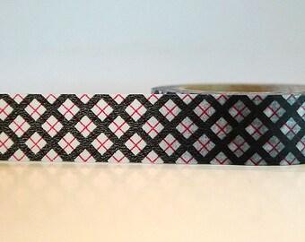 Washi Tape Black Red Criss Cross (Chugoku)