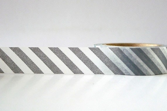 Grey Stripe Washi Tape Gray Diagonal Masking Tape for Wedding Paper Crafts