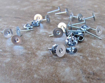 200 pcs 5mm Surgical Stainless Steel Flat Pad Earring Posts and Backs - 100 pairs