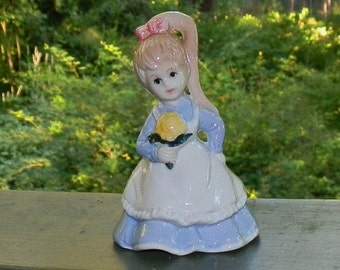 Vintage Young Girl Porcelain Ceramic Figurine With Sunflower